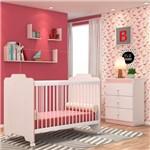 Quarto de Bebê Cômoda e Berço Ternura Branco/rosa - Pn Baby
