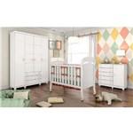 Quarto de Bebê Completo Ariel BRANCO QI99 (Guarda Roupa+Berço+Cômoda) - Cor Branco Brilho