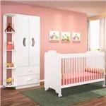 Quarto de Bebê Guarda Roupa e Berço Ternura Branco - Pn Baby