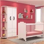 Quarto de Bebê Guarda Roupa e Berço Ternura Branco/rosa - Pn Baby