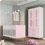 Quarto de Bebê Guarda Roupa 2 Portas e Berço Retrô Bibi Branco/rosa - Móveis Estrela