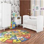 Quarto Infantil Completo Berço Guarda Roupa com Escrivaninha Aconchego Branco - Art In Móveis
