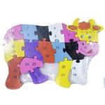 Quebra-Cabeça Vaca Colorido 17 Peças 18X24cm