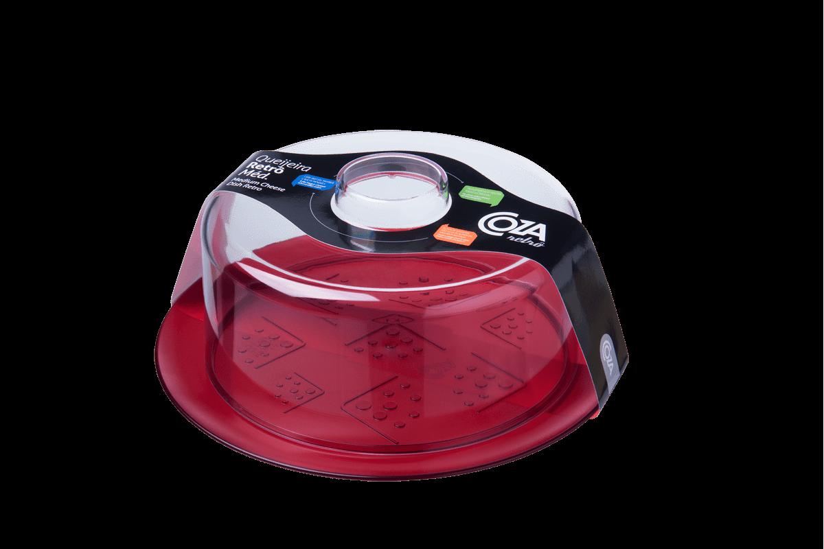 Queijeira Média - Retrô 23 X 23 X 10 Cm Vermelho Transparente Coza