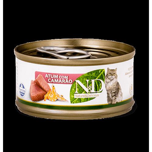 Ração Úmida Farmina N&D para Gatos Sabor Atum e Camarão 70g