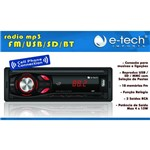 Radio Automotivo Bluetooth Mp3, Cartao de Memória e Entrada Usb + Cabo P2/p2 - e Tech