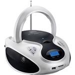 Rádio Portátil Multilaser SP181 Branco e Preto 20W RMS CD USB SD FM AUX