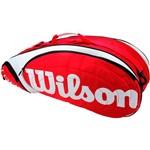Raqueteira Wilson Tour X6 Vermelha e Branca