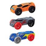 Refil Nerf Nitro com 03 Carrinhos de Espuma - Laranja, Cinza e Azul - Hasbro