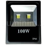 Refletor Super Led Holofote 100w Bivolt Branco Frio Preto