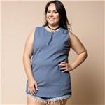 Regata Alongada Canelada Plus Size M