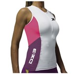 Regata de Ciclismo DX3 X-POWER Feminina - Branco / Rosa