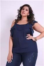 Regata Poá com Babados Plus Size Azul Marinho G