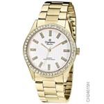 Relógio Champion Dourado Ponteiro Cristais Ch24615h