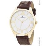 Relógio Champion Dourado Pulseira de Couro Cn20579b