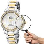 Relógio Champion Feminino CN29310S Strass Prateado com Dourado Prova D´água