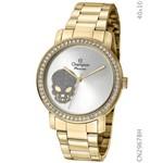 Relógio Champion Feminino Dourado Cristais Caveira Cn29678h