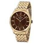 Relógio Champion Feminino Dourado Fundo Cafe Escuro Cn27698x