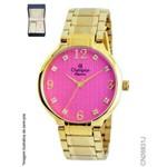 Relógio Champion Feminino Dourado + Semi Joias Cn26831j Rosa