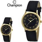 Relógio Champion Feminino Original Dourado Couro Camurça Preto