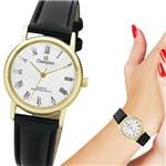 Relógio Champion Feminino Pequeno Dourado Pulseira de Couro