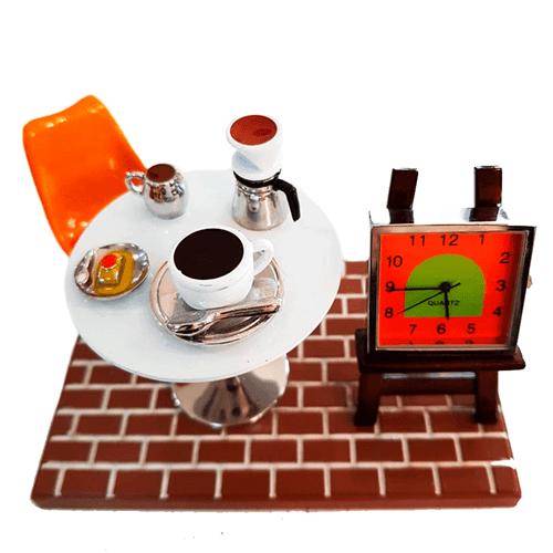 Relógio de Mesa Miniatura Café da Tarde