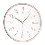 Relógio de Parede Branco e Prata 30cm Mart