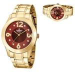 Relógio Feminino Champion Dourado Mostrador Vermelho CN29178i