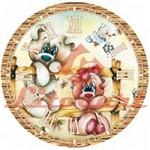 Relógio Madeira e Papel Decoupage Colado 20x20 Ursinho Lmapcr-10 Litocart