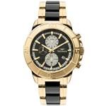 Relógio Technos Masculino Ceramica Dourado e Preto Js15et4p