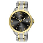 Relógio Technos Prateado e Dourado Masculino Classic Steel 1S13CP/5P