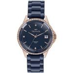 Relógio Technos Rosé e Azul Feminino Ceramic 2315kzt/4a