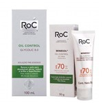 Roc Oil Control Glycolic 8.0 Solução Pre Essence 100ml + Roc Minesol Oil Control Fps 70 50g