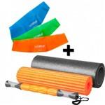 Rolo de Pilates 3 em 1 Fit Roll Foam + 3 Mini Band Tensao Leve + Media + Forte Liveup