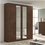 Roupeiro Lopas Castellaro 4 Portas Imbuia Soft com Espelho