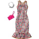 Roupinha para Boneca Barbie - Look Completo - Vestido com Estampa de Pedras Preciosas - Mattel