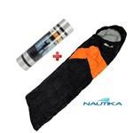 Saco de Dormir Nautika Viper Preto e Laranja + Isolante Térmico Azteq Isomat Aluminizado