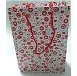 Sacola Cartonada 21,5x15x8cm Corações Vermelhos - 10 Unidades