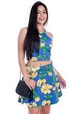 Saia Feminina Godê Floral Curta SA0753 - Kam Bess
