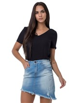 Saia Jeans Assimétrica com Barra Desfiada