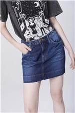 Saia Jeans Mini com Etiqueta no Bolso
