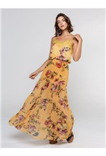 Saia Longa de Chiffon Estampa Floral Fundo - 38