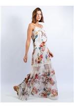 Saia Midi de Chiffon com Renda Estampa Floral Fund - 38