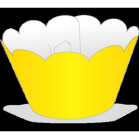 Saia para Cupcake Amarela - 12 Unidades