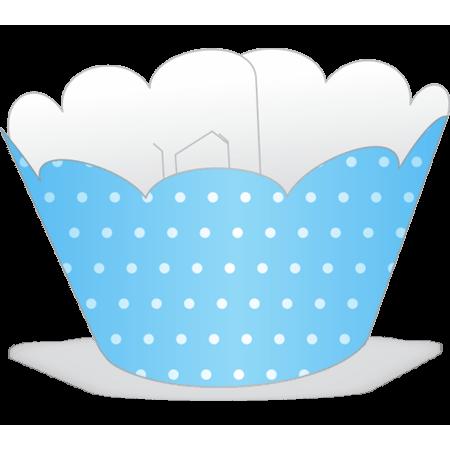 Saia para Cupcake Azul Clara Poá Branco - 12 Unidades