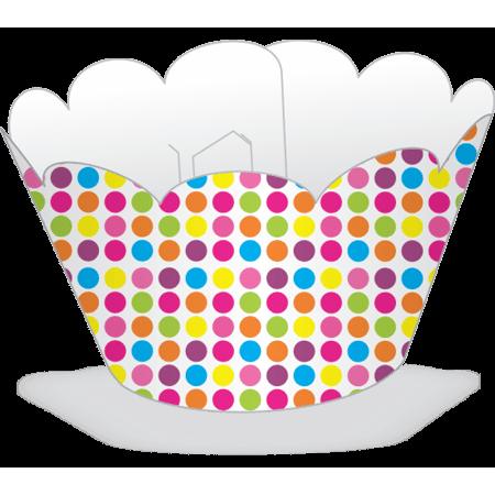Saia para Cupcake Poá Colorido - 12 Unidades