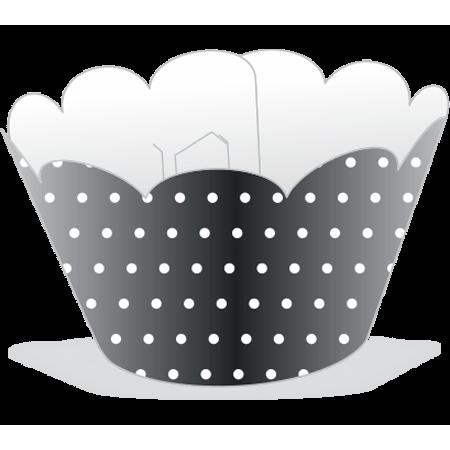 Saia para Cupcake Preta Poá Branco - 12 Unidades