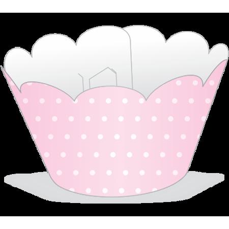 Saia para Cupcake Rosa Poá Branco - 12 Unidades