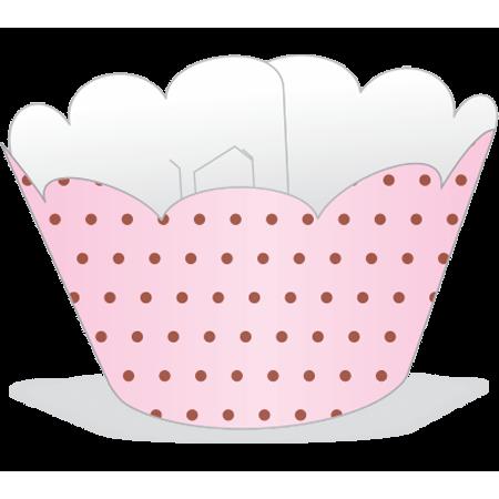 Saia para Cupcake Rosa Poá Marrom - 12 Unidades