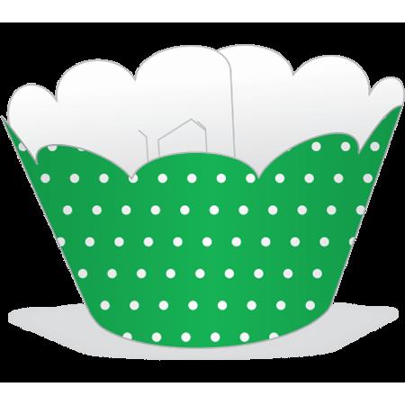Saia para Cupcake Verde Poá Branco - 12 Unidades